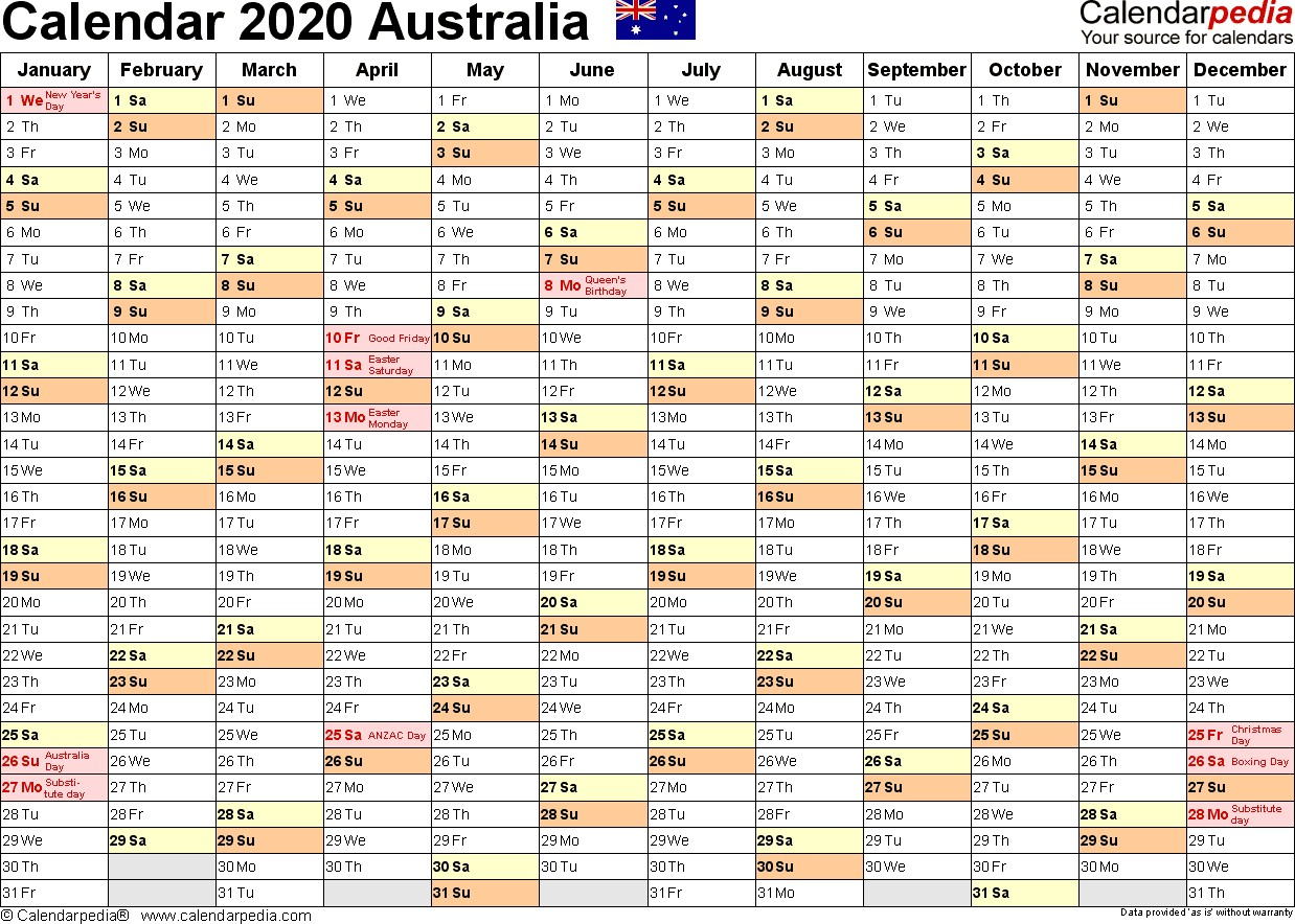 Australia Calendar 2020 Free Word Calendar Templates