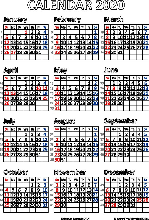 Australian Calendar 2020 Printable Calendar 2020 Australia Printable Pdf