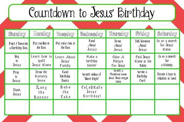 Birthday Countdown Calendar Printable Countdown to Jesus' Birthday Activity Calendar Free