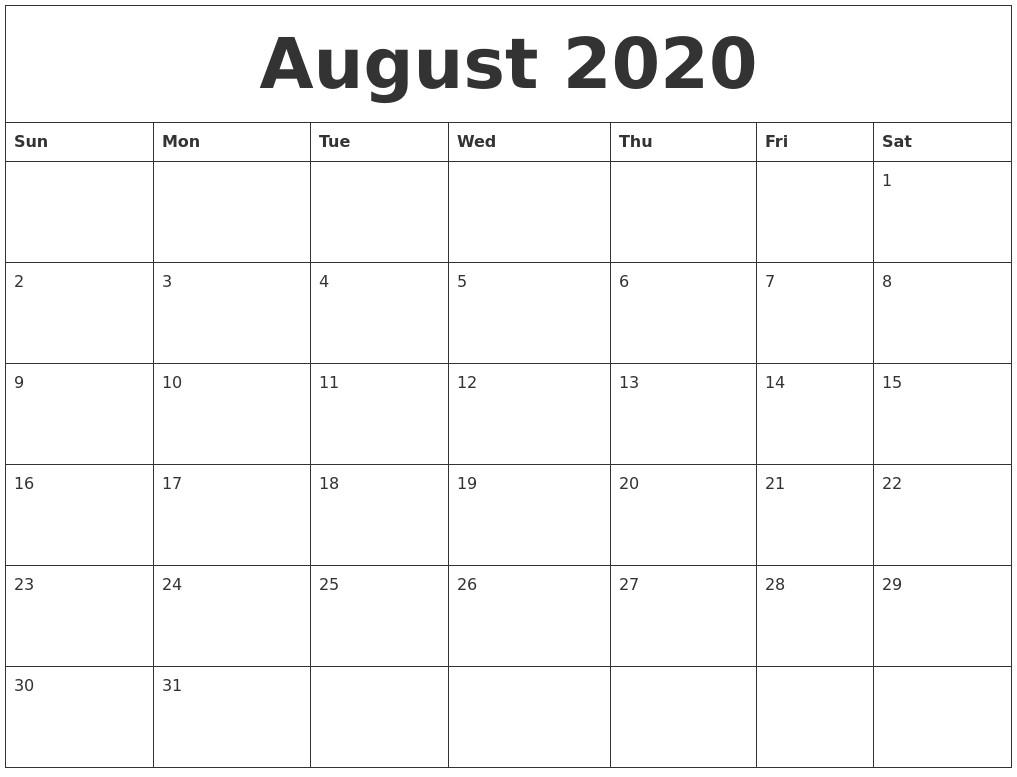 Blank 2020 Monthly Calendar Printable July 2020 Blank Calendar Printable