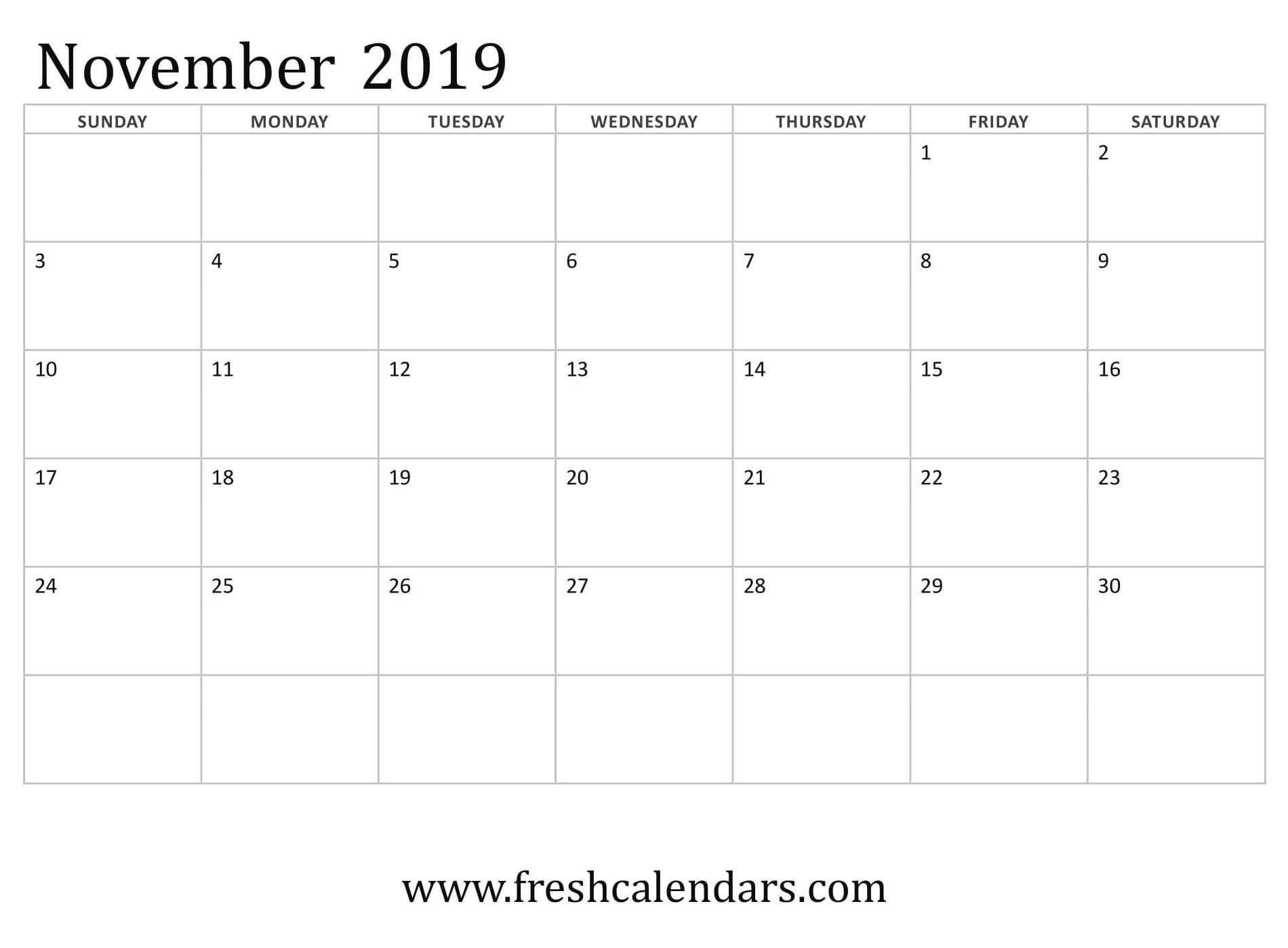 Blank November 2019 Calendar Printable Templates