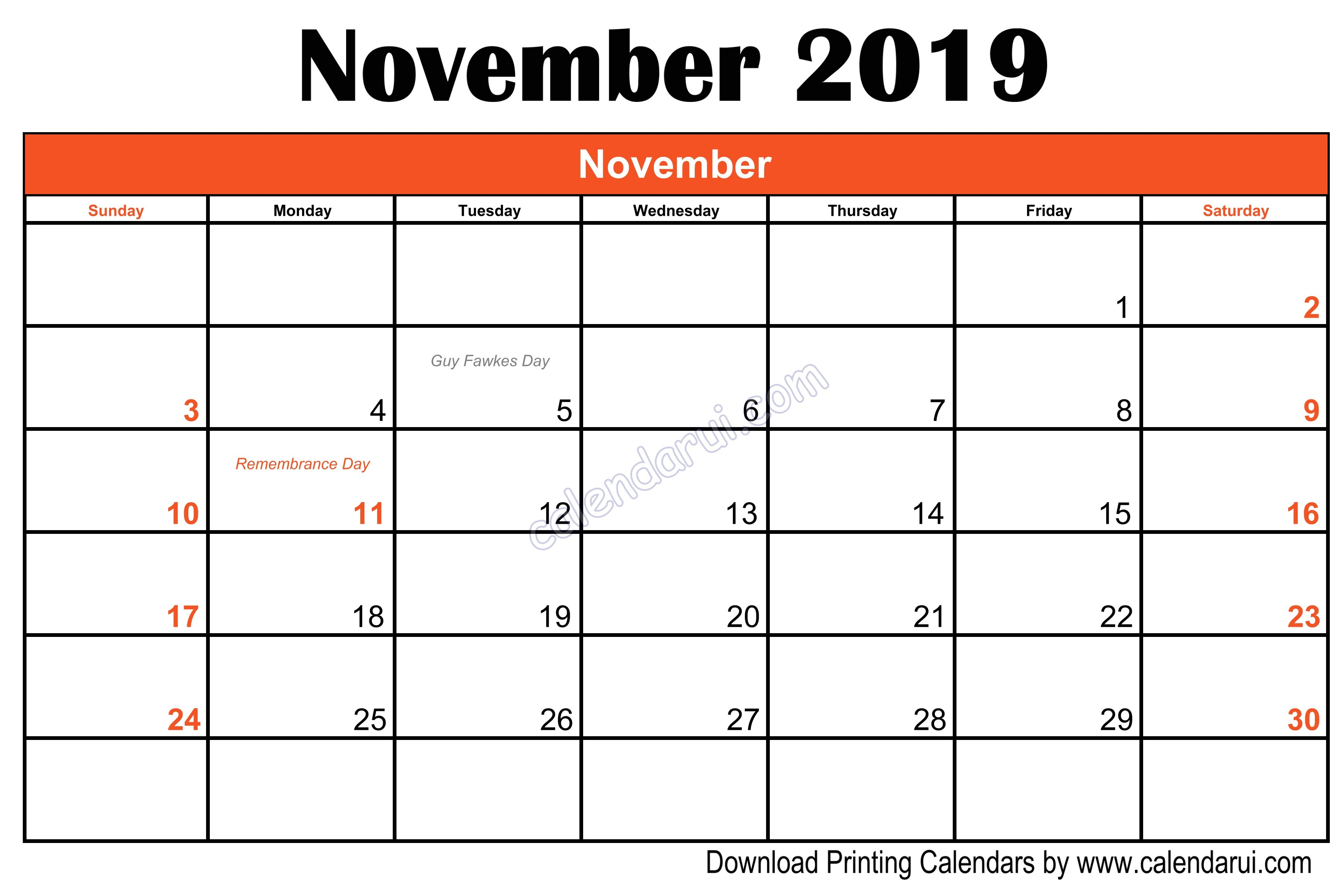 Blank November 2019 Calendar Printable Blank Printable November 2019 Templates Calendar