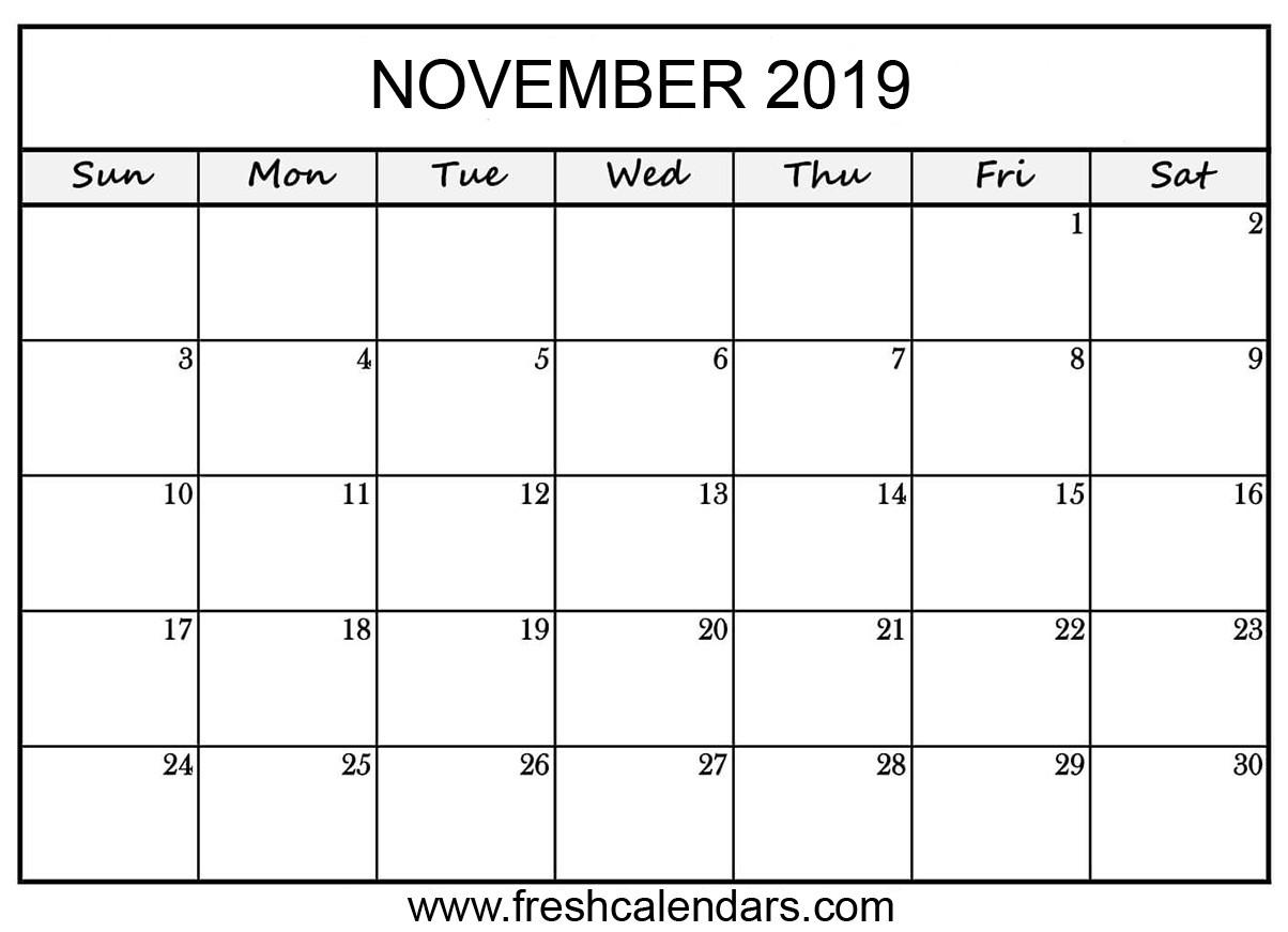 Blank November 2019 Calendar Printable Printable November 2019 Calendar Fresh Calendars