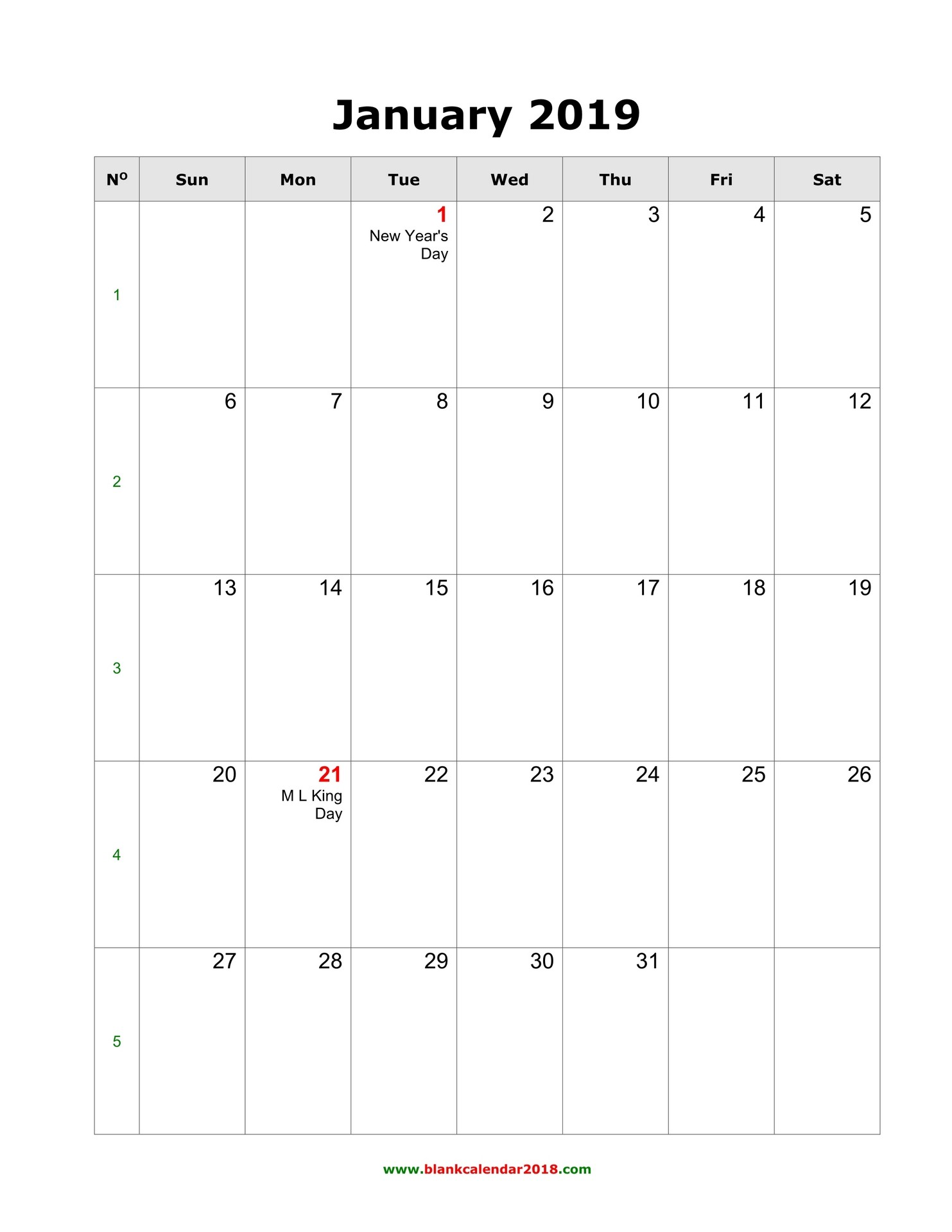 Blank Printable Monthly Calendar 2019 Blank Calendar 2019