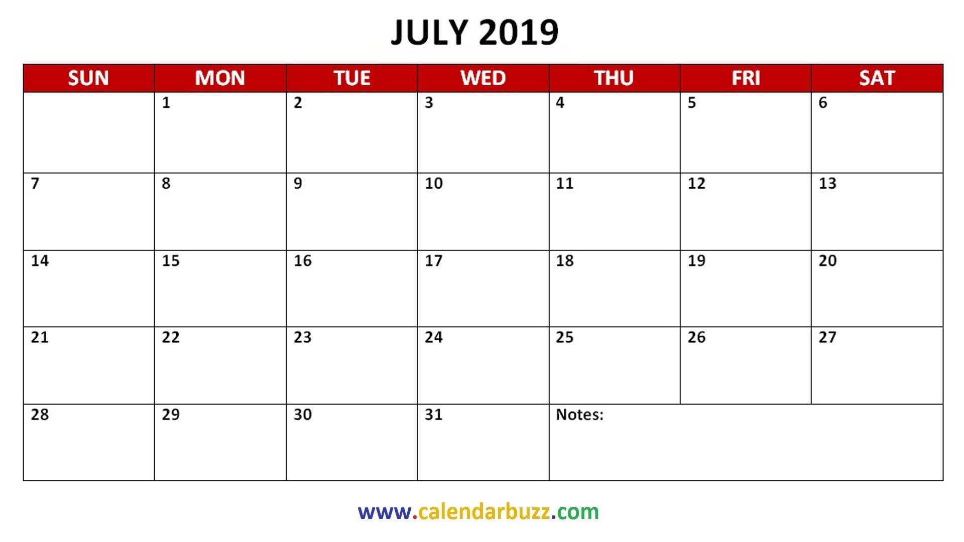 Free 2019 PDF Printable Calendar Monthly