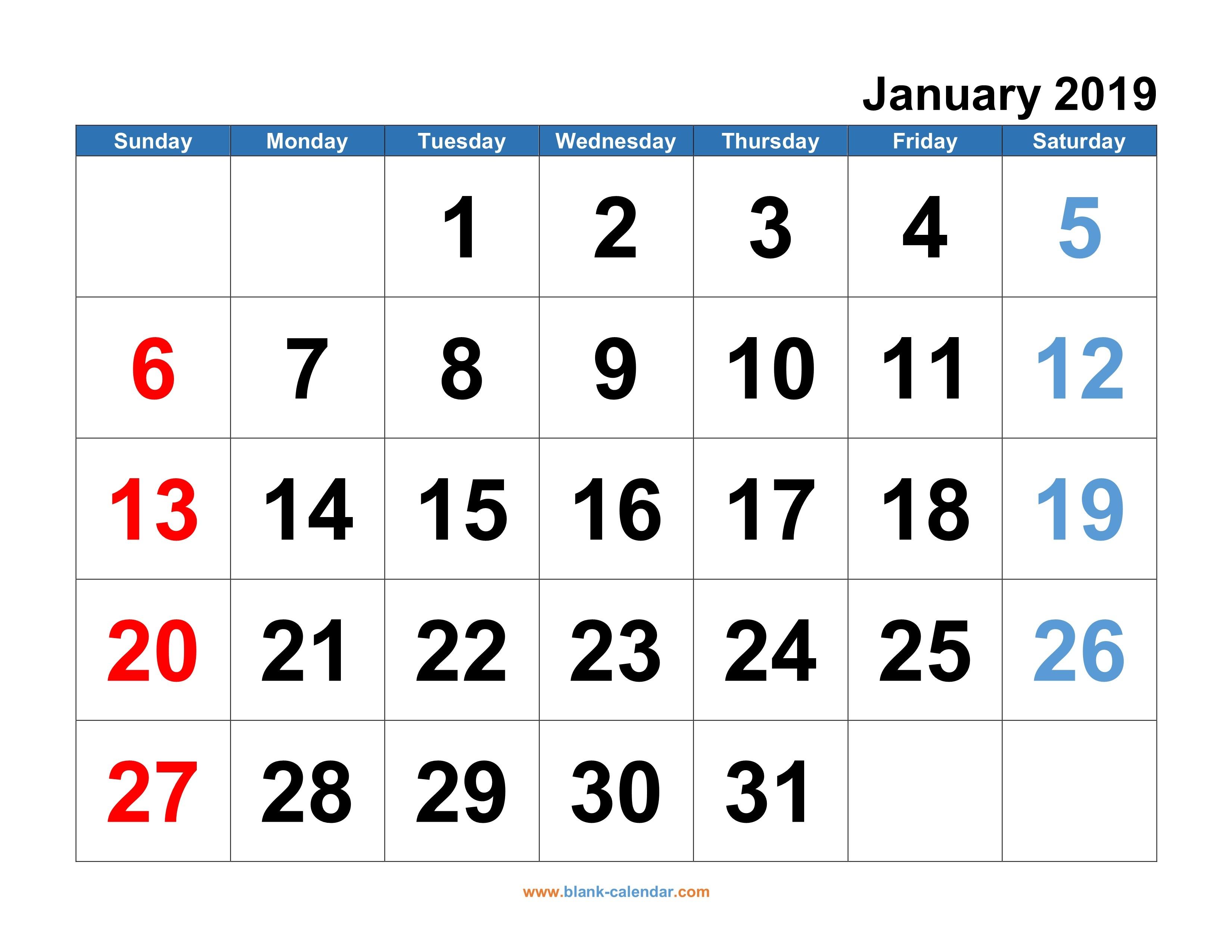 Calendar 2019 Free Printable Monthly Monthly Calendar 2019