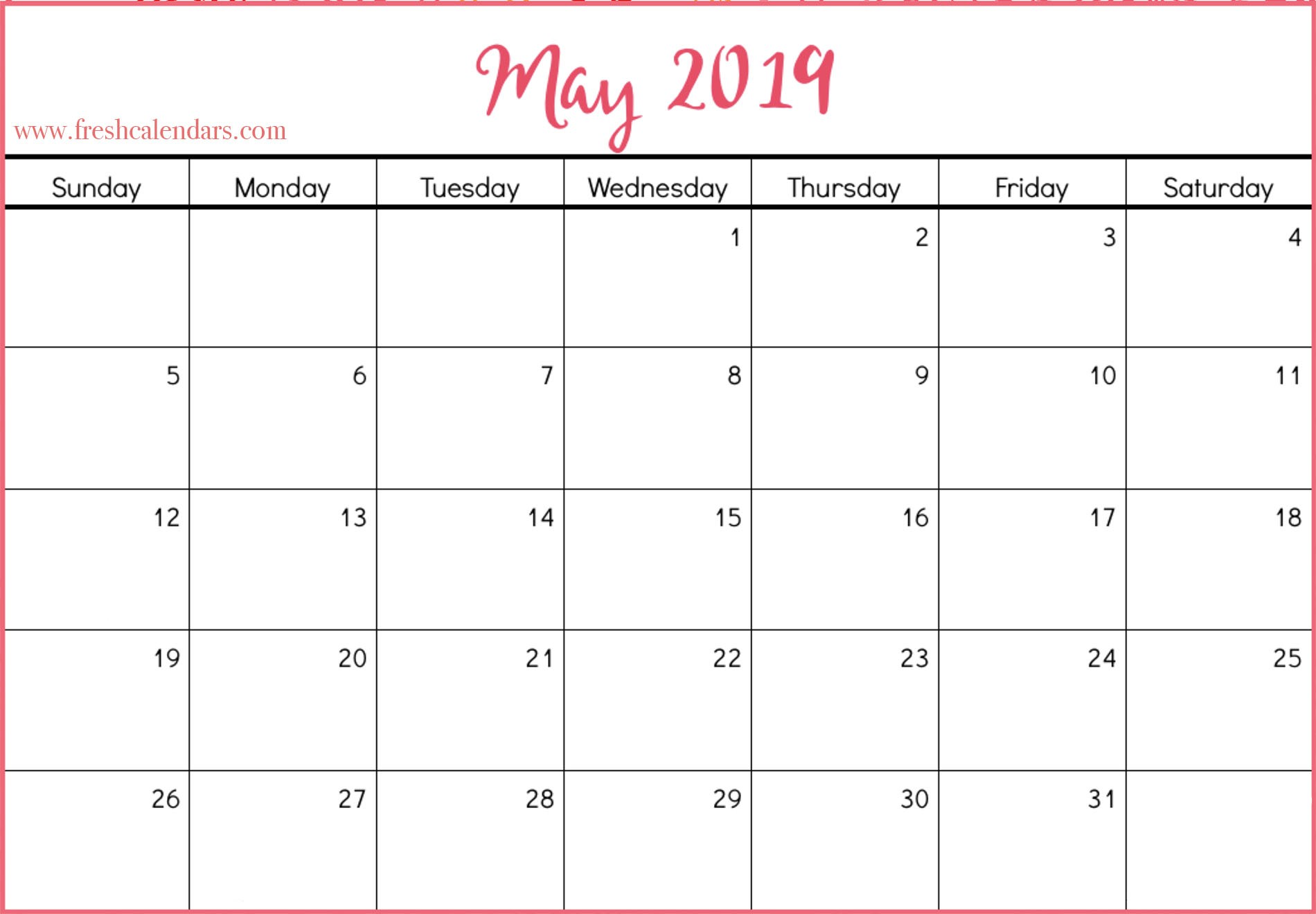 Calendar 2019 Free Printable Monthly Printable May 2019 Calendar Fresh Calendars