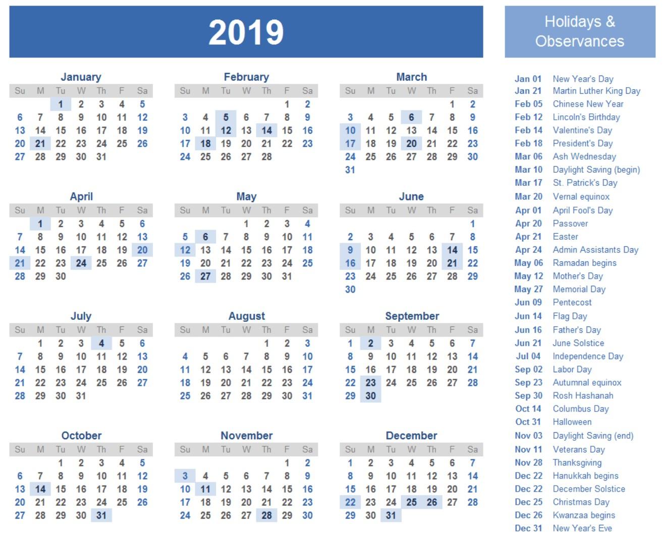 Calendar for 2019 Printable 2019 Calendar Amazonaws