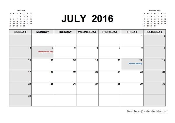 Calendar Labs Printable 2016 Printable Calendar Pdf Free Printable Templates