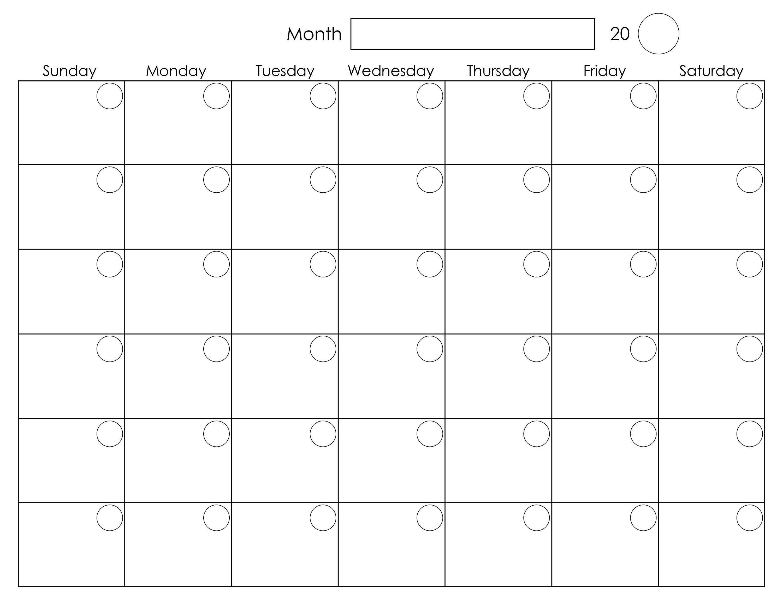 Calendar Months Printable Printable Blank Monthly Calendar