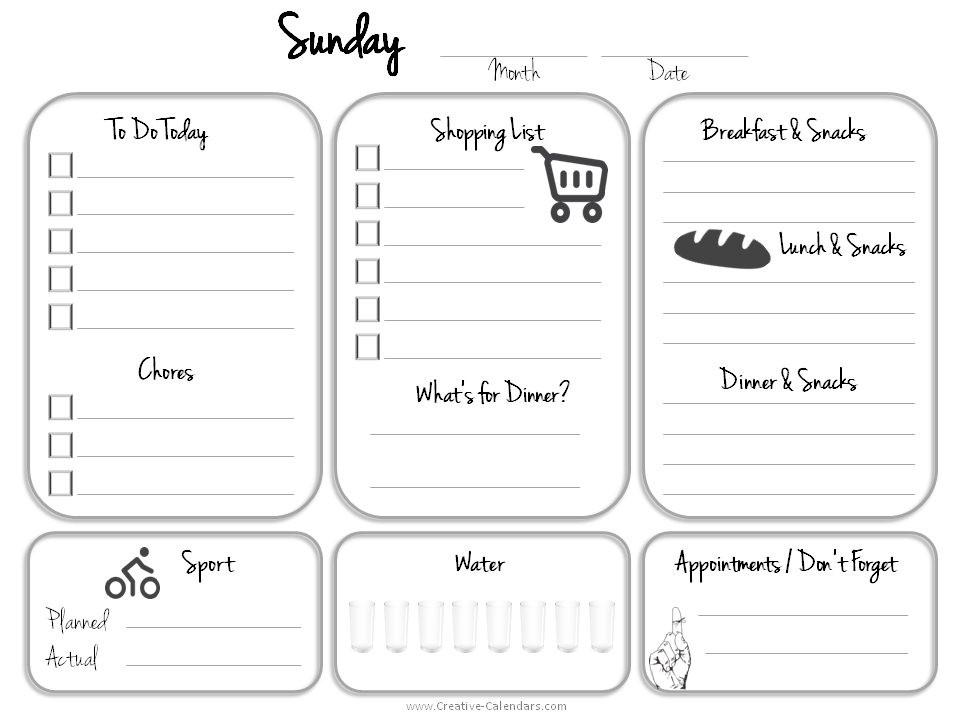 Calendar to Do List Printable Daily Planner Template