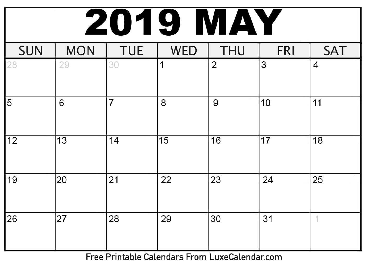 Calendars 2019 Printable