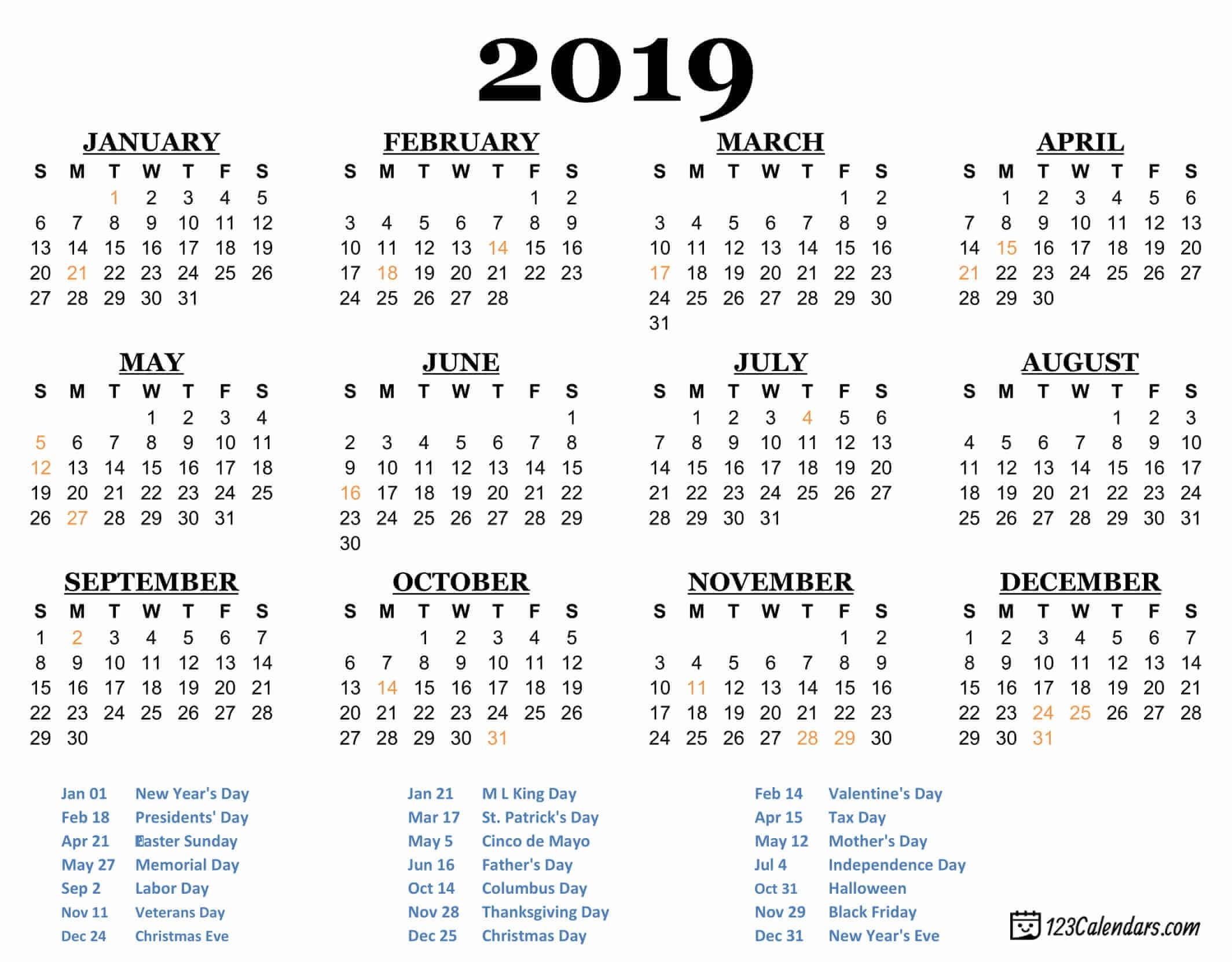 Year 2019 Printable Calendar Templates 123Calendars
