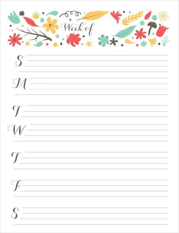 17 Sample Weekly Calendars