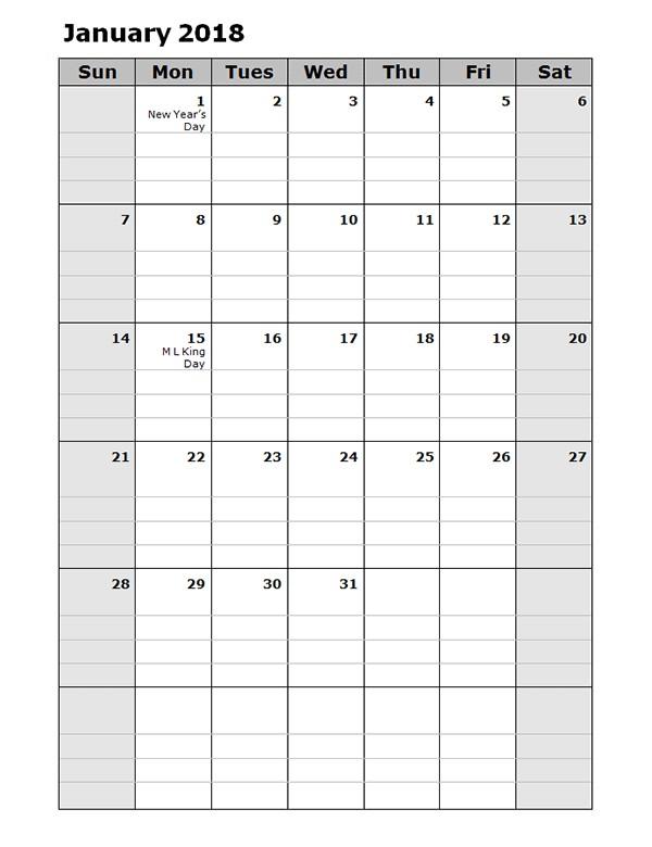 2018 Daily Planner Calendar Template Free Printable