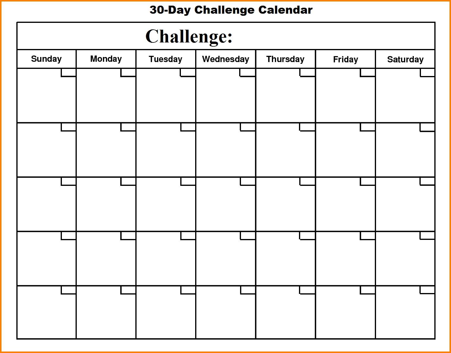 Blank 30 Day Workout Calendar – EOUA Blog