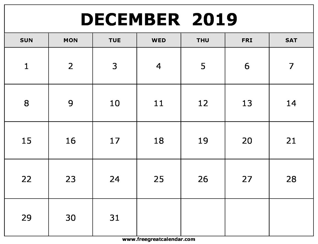 December Calendar 2019 Printable Blank December 2019 Calendar Printable