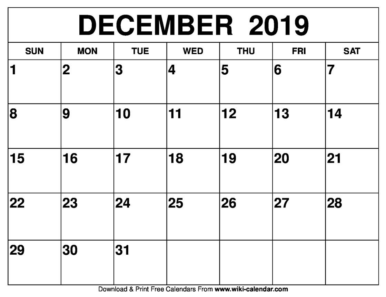 Blank December 2019 Calendar Printable