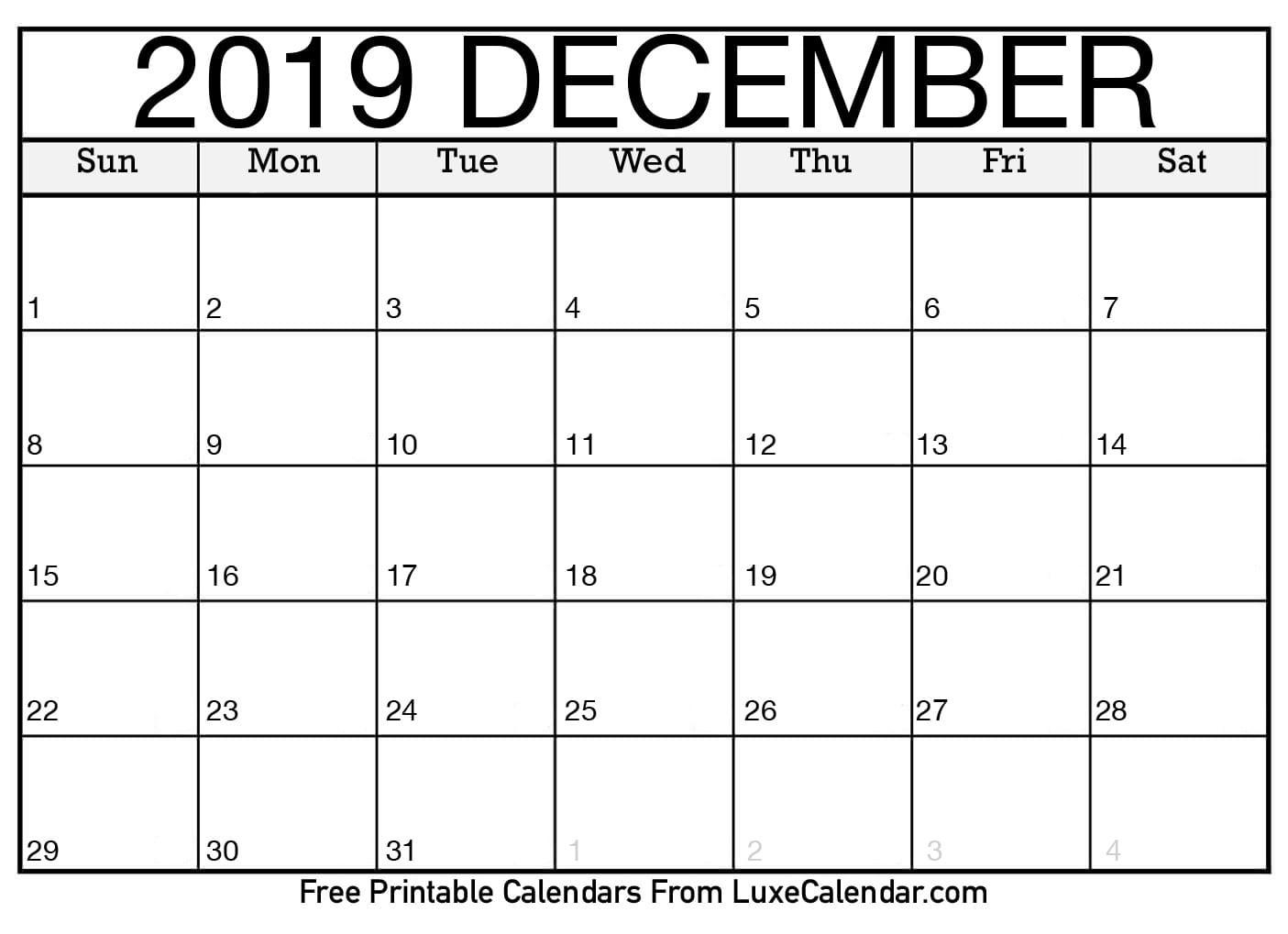 December Calendar 2019 Printable Blank December 2019 Printable Calendar Luxe Calendar