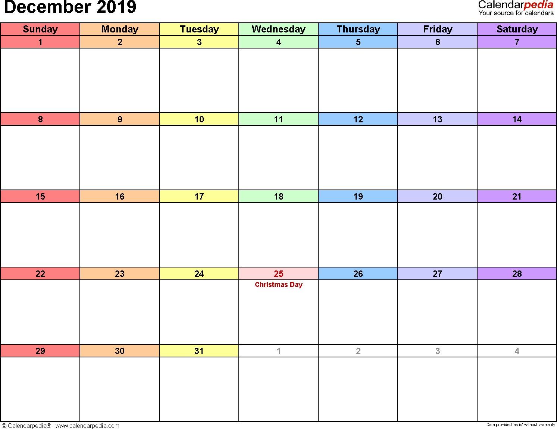 December Calendar 2019 Printable December 2019 Calendars for Word Excel & Pdf