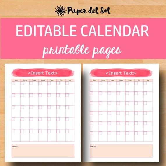 Editable Printable Calendars Editable Monthly Calendar 2018 Monthly Printable Calendar