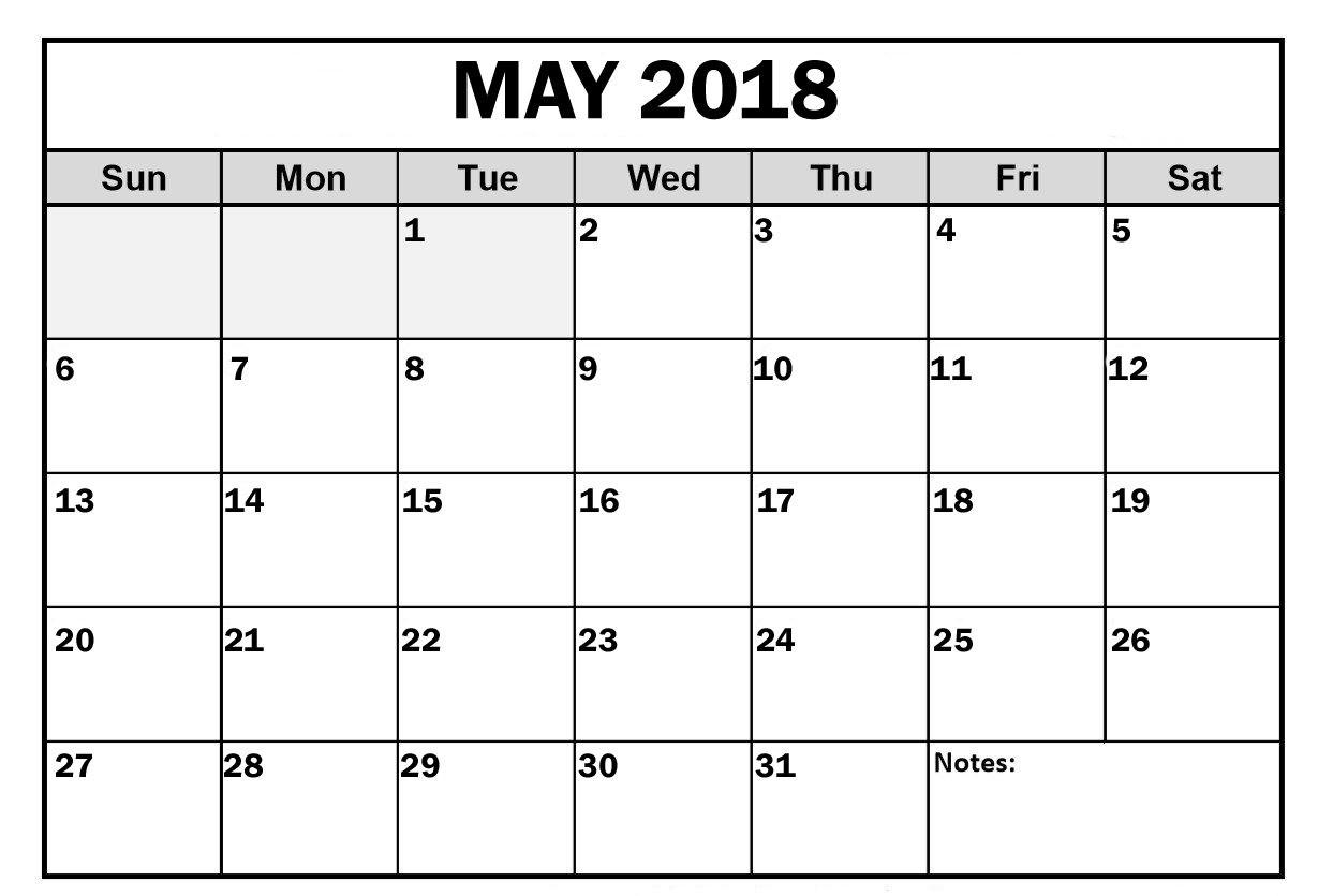 May 2018 Calendar Editable Printable