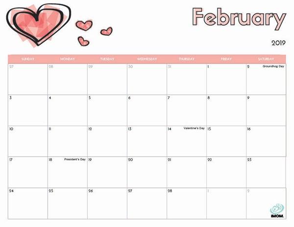 February 2019 Calendar with Holidays Printable 2019 Free Printable Calendar for Kids Imom