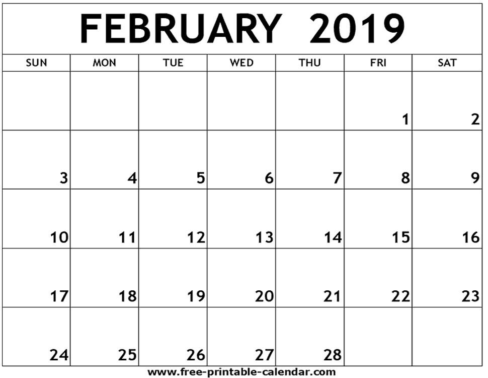 February 2019 Printable Calendar