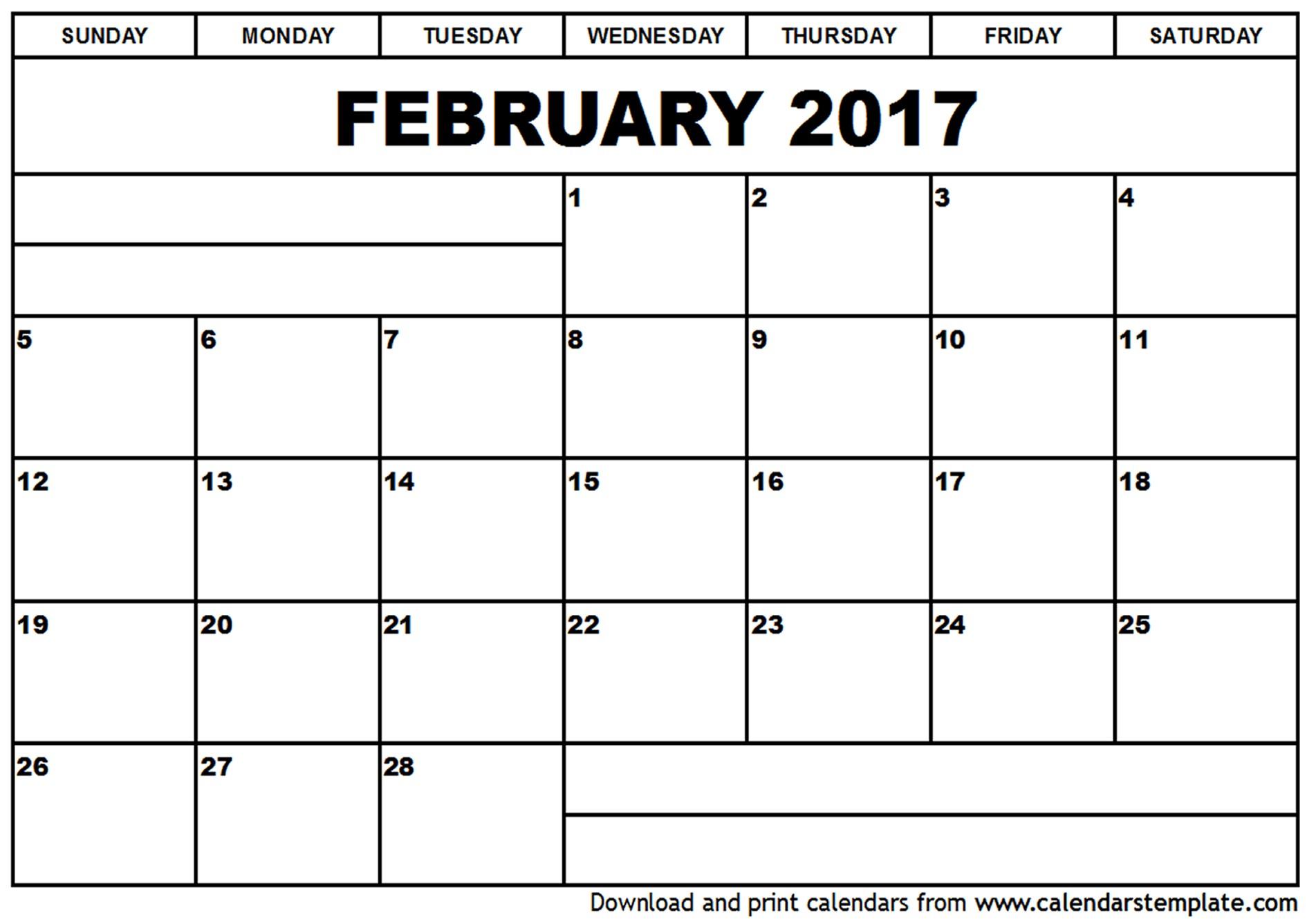 February 2017 Calendar Template