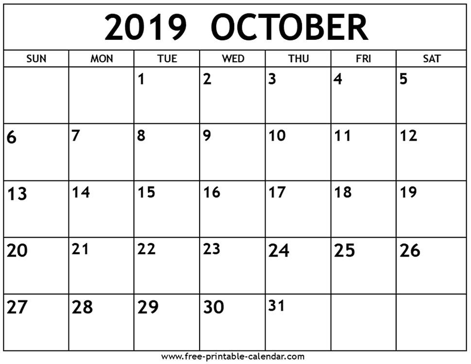 Free 2019 Calendar Printable October 2019 Calendar Free Printable Calendar