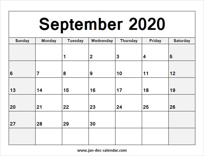 Blank Printable September Calendar 2020 Template Free