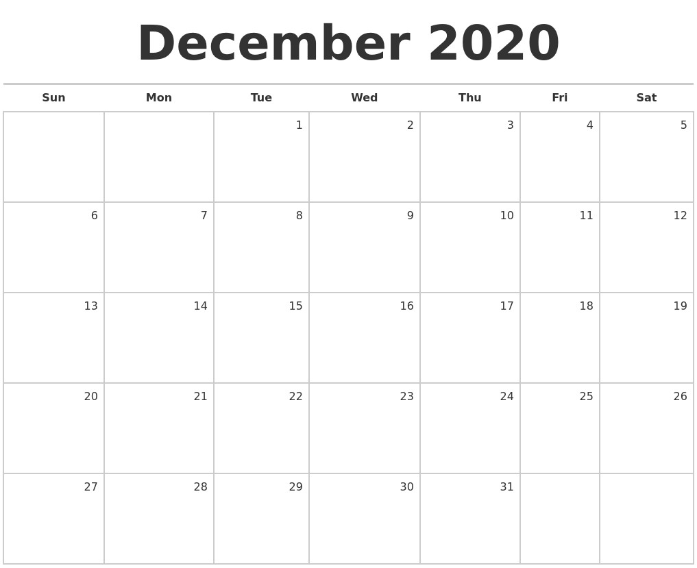 December 2020 Blank Monthly Calendar