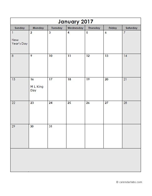 2017 Calendar Template Boxes Free Printable Templates