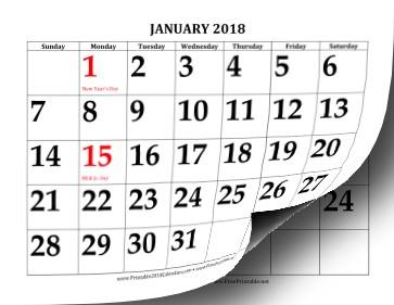 Free Large Printable Calendar Printable 2018 Calendar with Print