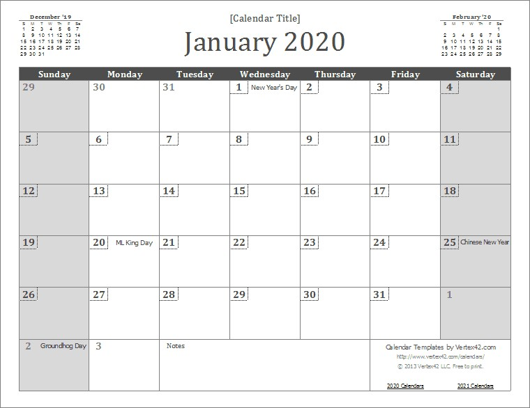 Free Monthly Calendar 2020 Printable 2020 Calendar Templates and