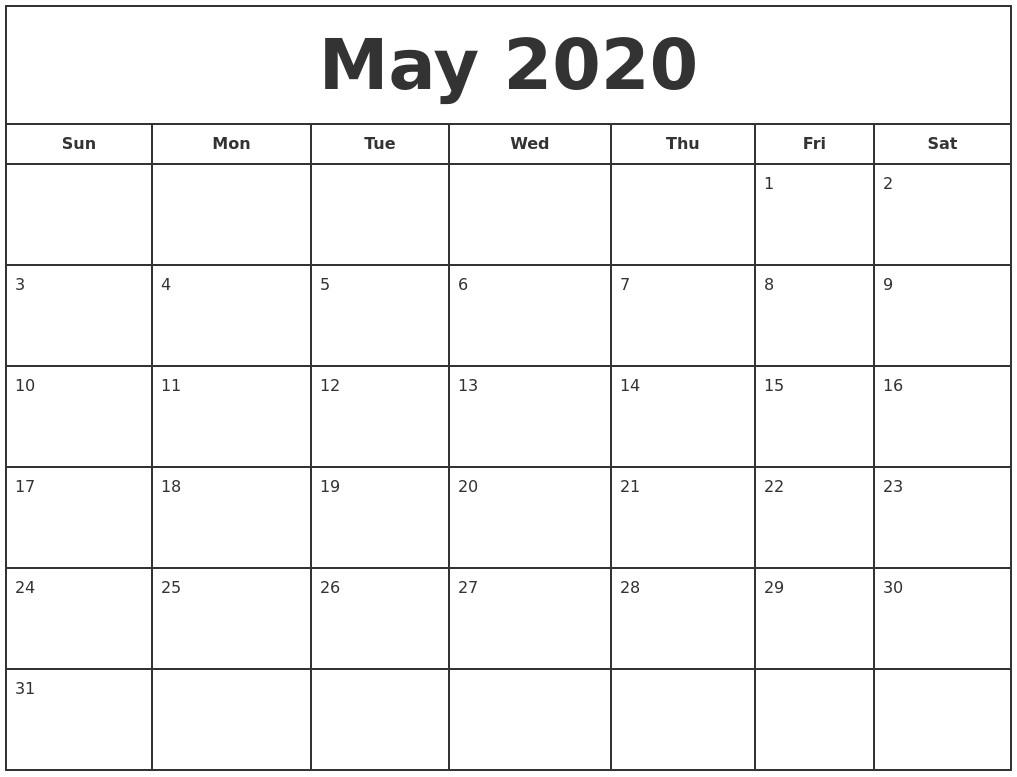 Free Monthly Calendar 2020 Printable April 2020 Printable Monthly Calendar