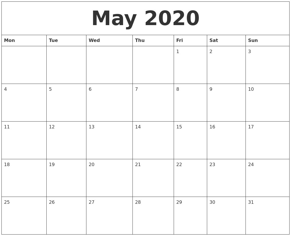May 2020 Free Printable Monthly Calendar