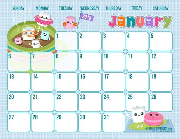 Free Printable Calendar Cute