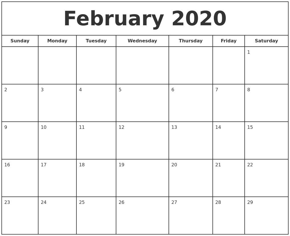 February 2020 Print Free Calendar