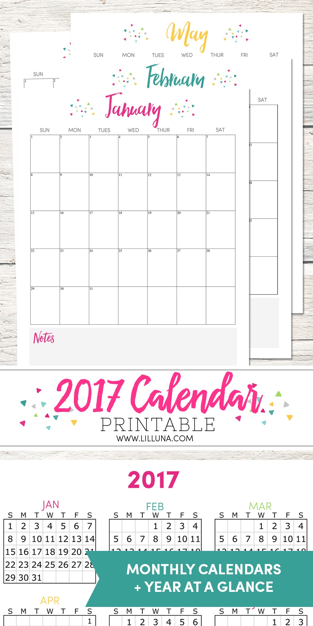 Free Printable Calendar with Notes Free 2017 Calendar