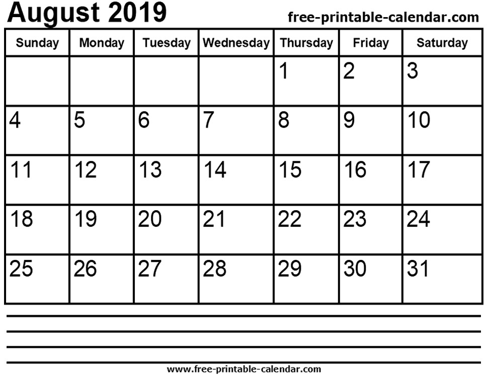 Free Printable Calendars 2019-2019 2019 August Calendar Printable