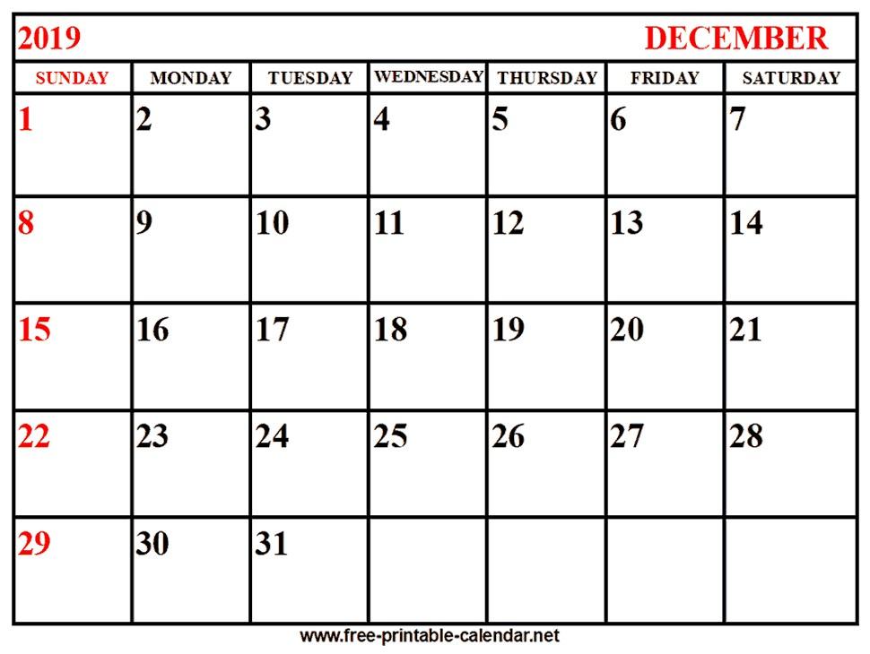 image regarding Free Printable Calendar December named Absolutely free Printable Calendars 2019-2019 2019 Calendar December