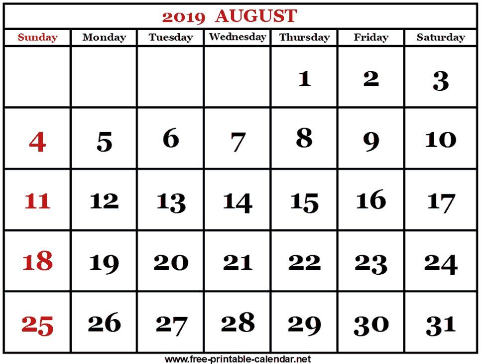 print 2019 August Calendar