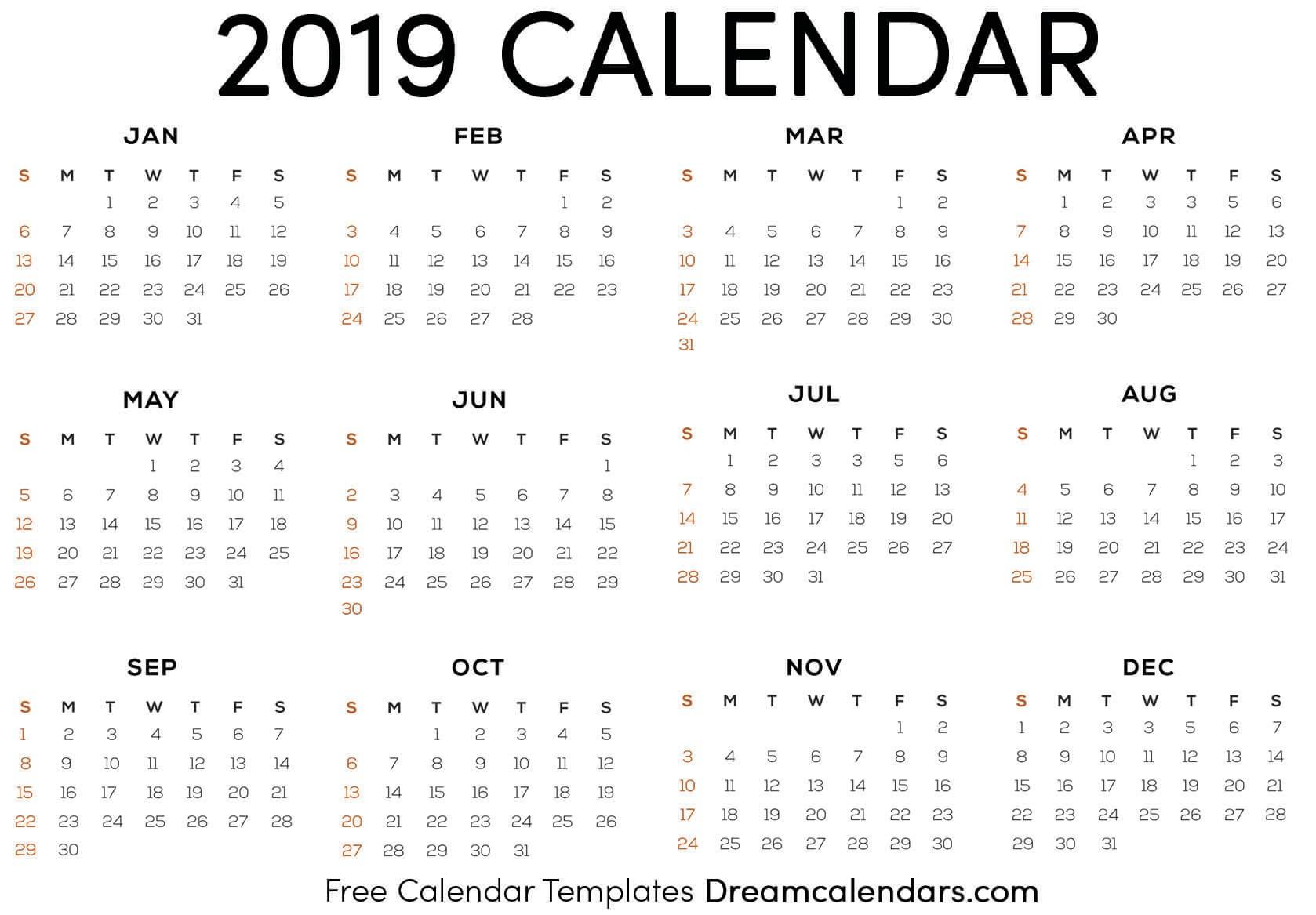 Printable 2019 Calendar Dream Calendars