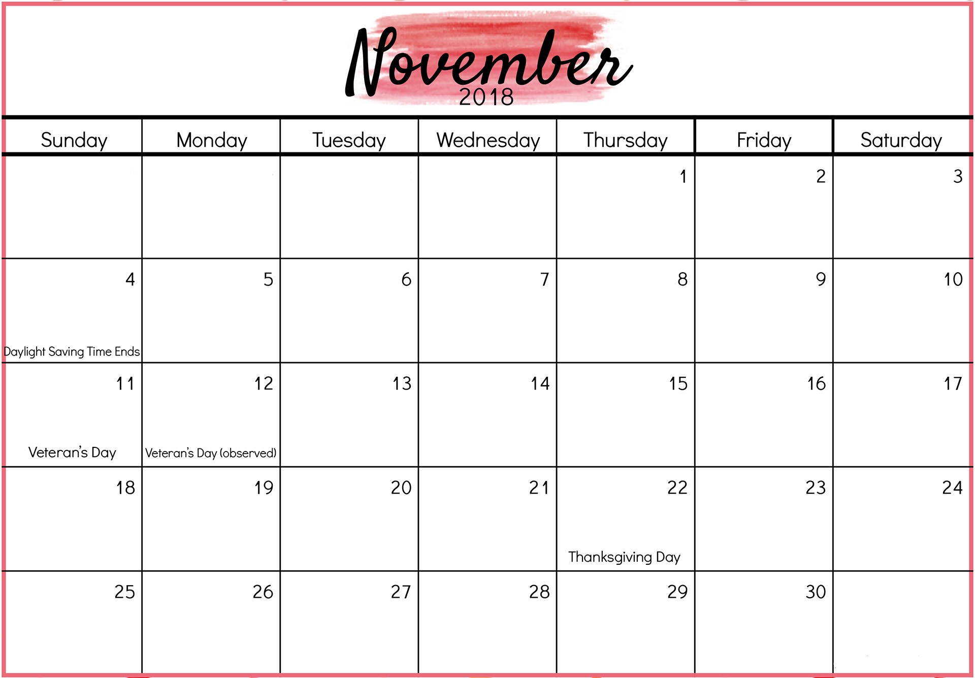 Free Printable November Calendar Blank November 2018 Calendar Printable Templates