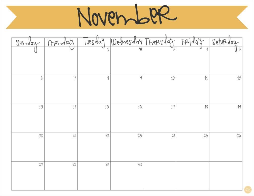 Free Printable November Calendar November 2016 Calendar Free Printable