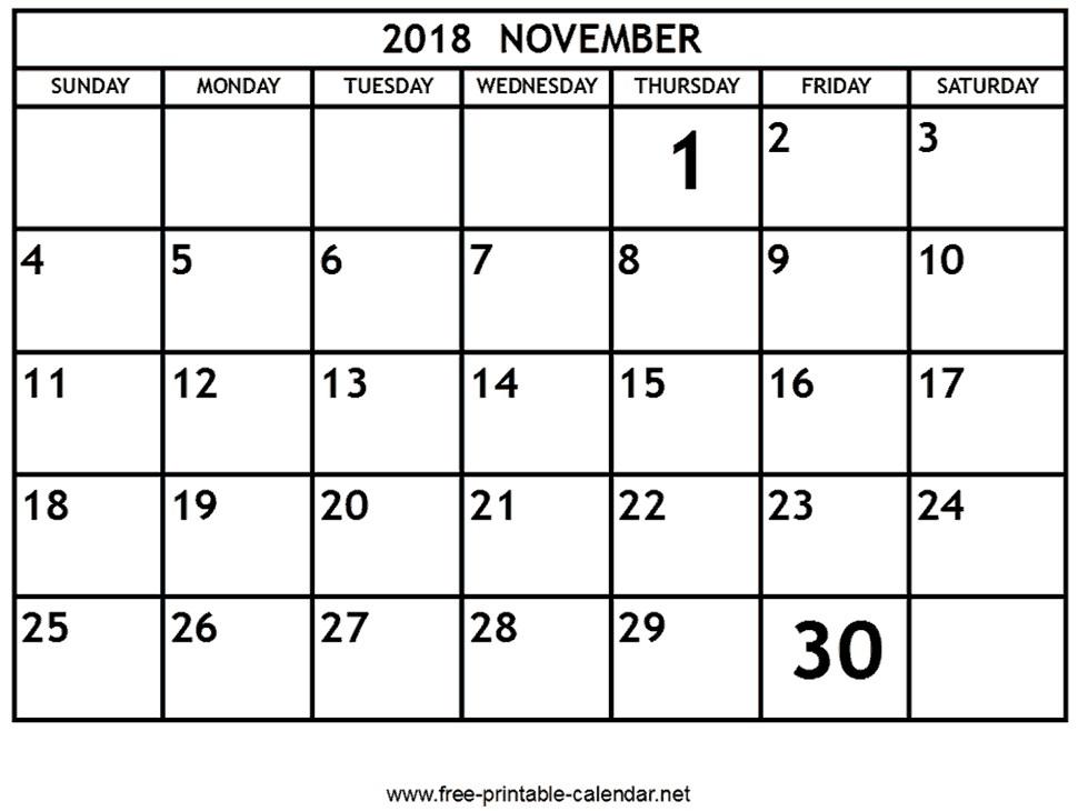Free Printable November Calendar Printable November 2018 Calendar Download & Print