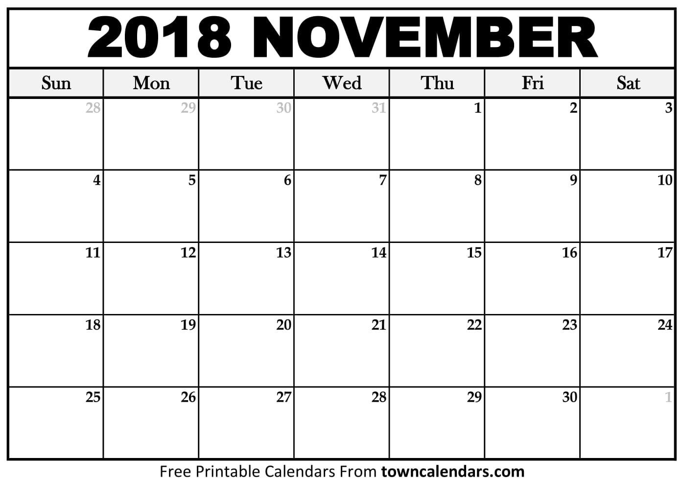 Printable November 2018 Calendar towncalendars