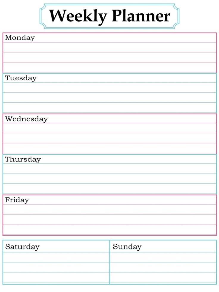 Free Printable Weekly Calendar Template Best 25 Weekly Calendar Template Ideas On Pinterest