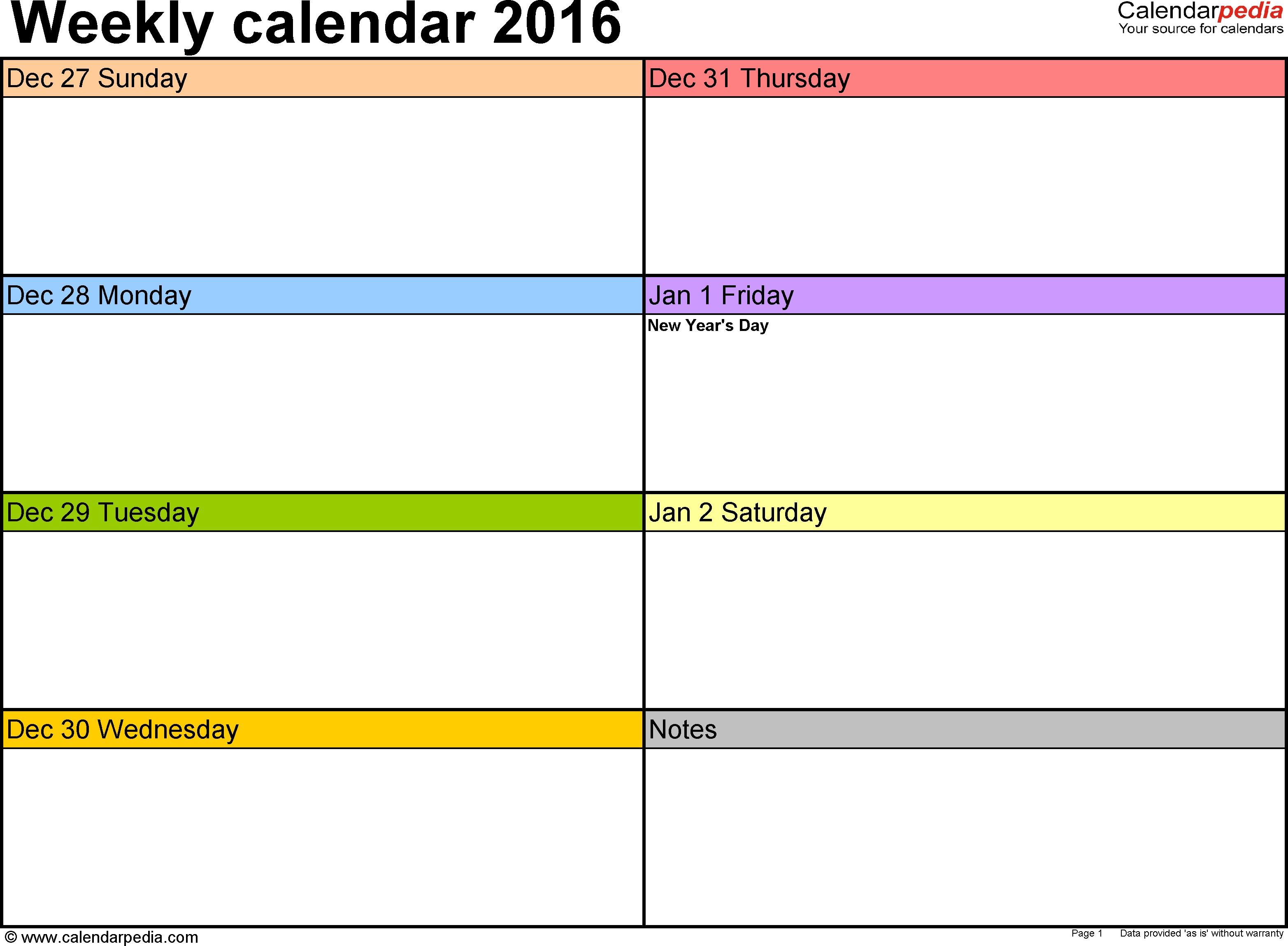 Free Printable Weekly Calendar Template Weekly Calendar 2016 for Word 12 Free Printable Templates